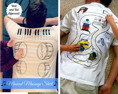 ha ha ha, Free back massage. Get your kids to give you a back massage with these diy t-shirts . Musical shirt {via - Lalymom}. Car shirt {via - The Blue Basket} on diy home sweet home: Insanely, Brilliant Parenting Hacks Massage Bebe, Massage Dos, Baby Massage, Parenting Humor, Kids And Parenting, Parenting Hacks, Mom Hacks, Baby Hacks, Hacks Diy