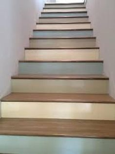 Our store presents these specially designed art creations just perfect for making your stairways a conversation piece. Each stairway consists of a set of removable adhesive vinyl panels that are super easy to install, extremely durable, and removab Painted Staircases, Painted Stairs, Spiral Staircases, Painted Wood, Basement Stairs, House Stairs, Basement Bathroom, Houses Architecture, Interior Architecture