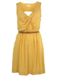 Ochre Cowl Pintuck Dress - View All - Dress Shop - Miss Selfridge