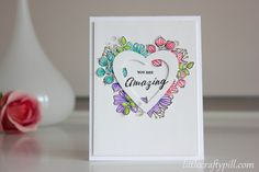 """Valentine's card using #SSSFAVE """"Wild Beauty"""" and """"Sketch Ranunculus"""" colores with Zig Clean Color Real Brush Markers. Video tutorial on my blog!"""