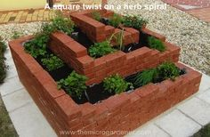 A square twist on a herb spiral garden. Perfect for corporate courtyards or formal gardens. Herb Spiral, Spiral Garden, Brick Garden, Herb Garden Planter, Garden Basket, Diy Herb Garden, Hanging Herbs, Diy Hanging Planter, Brick Planter