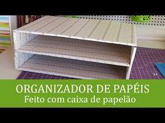 Organizador de papéis feito com caixa de papelão - YouTube                                                                                                                                                                                 Mais