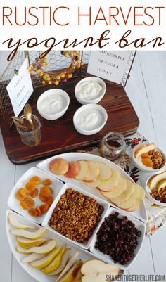 A Rustic Harvest Yogurt Bar has all the tastes of Fall in an easy entertaining idea!