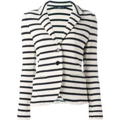 Steffen Schraut striped blazer ($390) ❤ liked on Polyvore featuring outerwear, jackets, blazers, nude, nude blazers, white blazers, steffen schraut, striped blazer and striped jacket