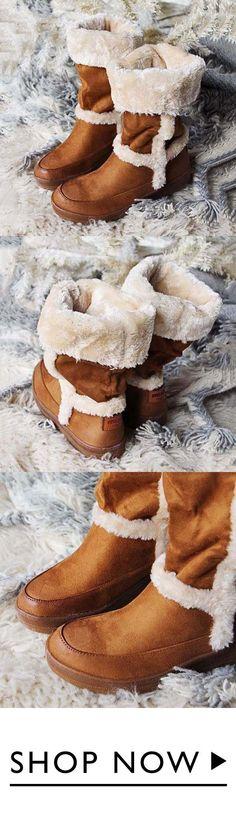 Sheinlook Women Fuzzy Cascade Cozy Boots b234552cf2
