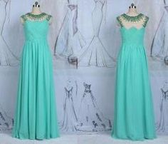 A Line Long Chiffon Beading Prom Dress Evening Dresses With Beaded
