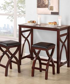 Amalia Three-Piece Breakfast Table Set - not too big, might be a good side-table option that doubles as eating area...just need to be sure that my legs would fit under