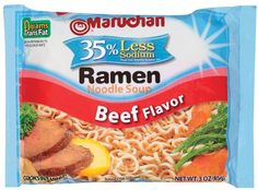 Maruchan Ramen Less Sodium Beef, (Pack of Maruchan offers a wide variety of delicious Ramen flavors including less sodium Ramen and authentic ethnic flavor products. Maruchan Ramen makes a creative addition to any recipe. The possibilities are endless. Ramen Noodle Soup, Ramen Noodles, Gourmet Recipes, Snack Recipes, Healthy Recipes, Healthy Foods, Healthy Weekend Meals, Ramen Flavors, Maruchan Ramen