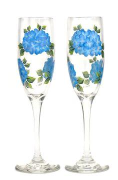 Blue Hydrangeas Champagne Flutes