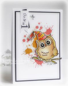 Art Impressions Rubber Stamps: Birthday Whoot Set (Sku#4125), Ai Whoots... handmade birthday card with owl.