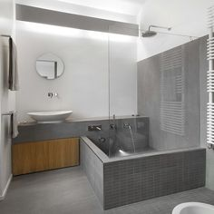 View the full picture gallery of NH Bf Bathroom Tub Shower, Small Bathroom With Shower, Bathtub Tile, Basement Remodel Diy, Basement Remodeling, Bad Inspiration, Bathroom Inspiration, Modern Bathroom Decor, Bathroom Interior Design