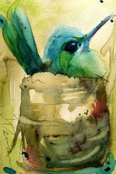 Nesting Hummingbird Watercolor Art by RedbirdCottageArt