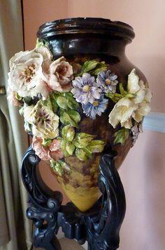 French Barbotine majolica  ovoid vase by My Beautiful Barbotine, via Flickr