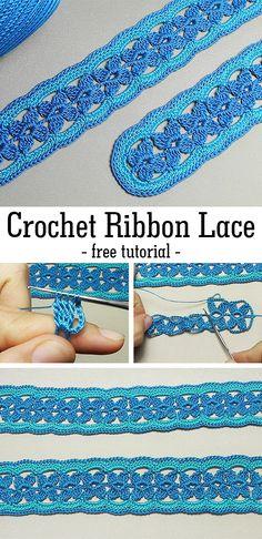 One-Piece Knit Lace Slippers Free Knitting Pattern+Video - Knitting Pattern - Crochet - Tutorials - Maria Crochet Lace Scarf, Crochet Cord, Crochet Lace Edging, Crochet Motifs, Crochet Borders, Thread Crochet, Easy Crochet Patterns, Crochet Flowers, Crochet Stitches