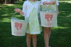 a southern bucket presents our girl silhouette/monogram burlap bucket for chic storage.... birthday gift, tween decor, Easter pail