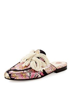 Princetown+Bow+Brocade+Mule,+Pink+by+Gucci+at+Neiman+Marcus.
