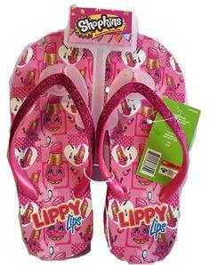 $24.99 NEW Shopkins Lippy Lips Wedge Flip Flops 2/3 Large Pink NWT #MooseToys #FlipFlops