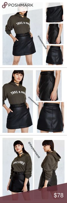 """Urban Outfitters Belted Vegan Leather Mini Skirt Weekend-essential vegan leather mini skirt in a belted A-line design by Silence + Noise from Urban Outfitters. In softly pebbled faux leather with a high-rise waist topped with an adjustable belt for the perfect fit. Tapers out to the bottom for a flirty flared silhouette, finished with slanted pockets at the sides and a hidden zip closure at the back.  - Viscose, polyurethane - Spot clean - Model is 5'6"""" and wearing size Small - Measurements…"""
