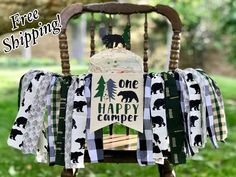 ONE Happy Camper Highchair Banner, Camping, Bear, Wild One Banner First Birthday Camping Theme, First Birthday Party Themes, One Year Birthday, First Birthday Banners, Baby Boy First Birthday, First Birthday Photos, Boy Birthday Parties, Birthday Ideas, Birthday Gifts