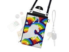 Rainbow Unicorn Crossbody Purse Bag Phone Wallet Checkbook Passport Travel Wallet Wristlet iPhone Samsung Mobile Pouch Cellphone Fleece by SewLakeTahoe on Etsy https://www.etsy.com/au/listing/510771625/rainbow-unicorn-crossbody-purse-bag