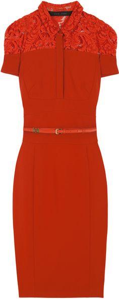 Lace Jersey Tailored Shirt Dress