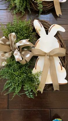 Neutral Easter wreath Our Easter hubby wreaths paired with greenery create a stunning welcome for Ea Easter Projects, Easter Crafts, Holiday Crafts, Diy Crafts Spring, Easter Tree Decorations, Decoration Table, Easter Wreaths Diy, Dollar Tree, Door Wreaths