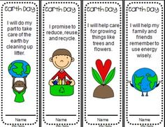 Here's a set of 4 Earth Day bookmarks, each with a different Earth Day pledge.