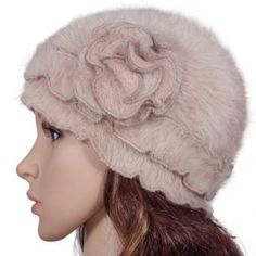 1dd6fdc47e5 Super Soft Angora Classic Flower Ruffle Laciness Knitted Beanie Cap Hat -  Camel Cute Hats