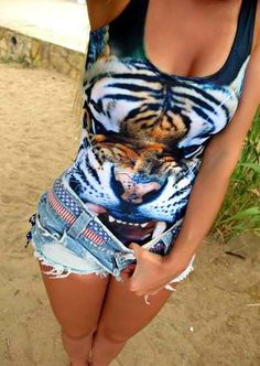Cute shirt, tank top, tiger, shorts