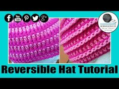 ▶ Crochet Reversible Spiral Beehive Unisex Hat Tutroial - YouTube