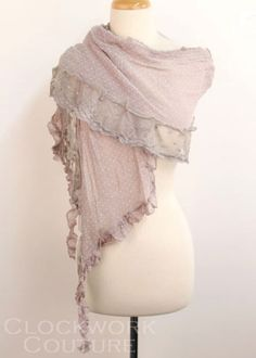 Clockwork Couture Dotted Scarf with Lace