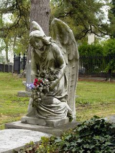 flowers~For His compassions never fail~ Cemetery Angels, Cemetery Statues, Cemetery Headstones, Old Cemeteries, Cemetery Art, Angel Statues, Graveyards, Hollywood Cemetery, Tourist Board