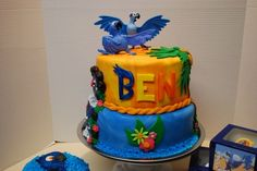 Rio Themed Birthday Party Including smash cake with hand painted baby rio, full cake with hand painted waterfall and party favor cupcakes. Rio Birthday Cake, Rio Birthday Parties, Birthday Fun, Birthday Ideas, Kid Parties, Birthday Stuff, Diy Party Themes, Party Ideas, Rio Cake