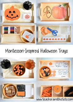 Montessori-inspired ideas for Halloween-themed shelf work for toddlers The Effective Pictures We Offer You About Montessori playroom A quality picture can tell you many things. You can find the most b Montessori Trays, Montessori Preschool, Montessori Education, Preschool Learning Activities, Toddler Learning, Infant Activities, Montessori Quotes, Cutting Activities, Montessori Bedroom