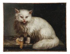 Jacques Barthelemy Delamarre (18th century) A white Angora cat on a table top with a bird
