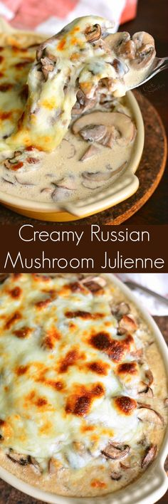 This is Keto/low carb just sub canola oil for healthier oil Creamy Russian Mushroom Julienne. The best mushroom side dish you will even have! Thinly sliced mushrooms and shallots sauteed and then baked in cream sauce and cheese. Mushroom Side Dishes, Mushroom Dish, Vegetable Side Dishes, Mushroom Recipes, Vegetable Recipes, Vegetarian Recipes, Cooking Recipes, Mexican Recipes, Vegetarian