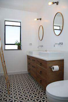 Bathroom. Double sinks. Patterned tiles. Israeli design. Tel-Aviv design.