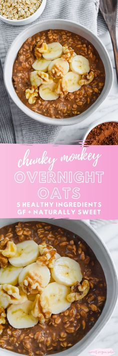 Vegan chunky monkey overnight oats are a sweet and satisfying meal, full of chocolate banana flavor and crunchy walnuts! Made with just 5 healthy ingredients. #veganovernightoats #overnightoats #healthyovernightoats #chocolate #banana #chunkymonkeyovernightoats #veganbreakfast #easybreakfast #healthybreakfast Vegan Breakfast Recipes, Vegan Recipes, Breakfast Ideas, Free Recipes, Vegan Overnight Oats, Vegan Oatmeal, Plant Based Breakfast, Good Food, Yummy Food