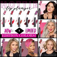 Younique's incredible lip plumper just got hotter! It now comes in 5 gorgeous shades plus the original sheer pink. Purchase in a bundle of 5 or in the July Kudos which offers 1 of these colors + EPIC Mascara + a SPLURGE Cream Shadow of your choice. Splurge Cream Shadow, Younique Presenter, Lip Plumper, Health And Beauty, Mascara, Lips, Make Up, Skin Care, Victoria