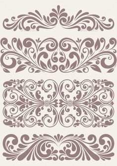 Illustration of vector set vintage ornate border frame filigree with retro ornament pattern in antique baroque style arabic decorative calligraphy design vector art, clipart and stock vectors. Wall Stencil Patterns, Stencil Art, Stencil Designs, Stencils, Damask Stencil, Vintage Borders, Vintage Patterns, Wood Carving Designs, Decorative Borders