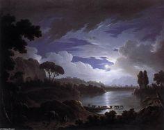'Moonlit Scene on the Tiber near Rome', Oil On Canvas by Michael Wutky (1739-1822, Austria)