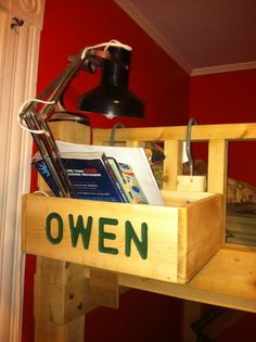 Personalized bunk bed shelf. Thanks dad!