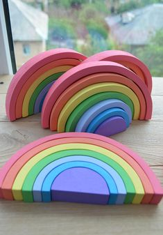 """Wooden puzzle Pastel Rainbow (small) - its handmade wooden eco-friendly toy for toddlers. This game is not only funny for children, but also useful. You can be sure that your child not only plays, but also develops logical thinking and motor skills. Moreover, it is made of natural and organic materials, which assure that it is safe. ✓ Made of alder; ✓ Used acrylic paint (water-based); ✓ Recommended for children from 2th years; ✓ Total 7 elements of the puzzle; ✓ Size: height - 9.5cm(3.5"""")…"""