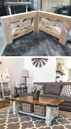 DIY Farmhouse Coffee Table for the home living room diy living room projects Pläne für rustikale Holzmöbel Do It Yourself (DIY) & Crafts - Jo. Living Room Interior, Home Living Room, Living Room Designs, Living Room Decor, Farmhouse Furniture, Furniture Plans, Home Furniture, Woodworking Furniture, Woodworking Plans