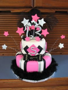 Pink, Black And White Birthday Cake I made this cake for a customer who was hosting a glow in the dark themed birthday party for her. Chanel Birthday Cake, Zebra Birthday, White Birthday Cakes, 13 Birthday Cake, 13th Birthday, Birthday Party Themes, Birthday Ideas, Party Time, Party Party