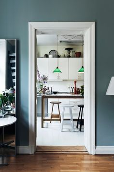 Wall color: a blue that has the feel of a neutral. Swedish Interiors, Scandinavian Interior Design, Interior Modern, Interior Walls, Home Interior, Piece A Vivre, Interior Photography, Dining Room Design, Home Decor Trends