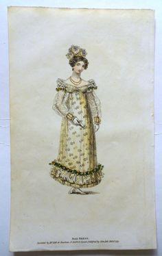 Sprigged ball dress. Belle Assemblee 1817