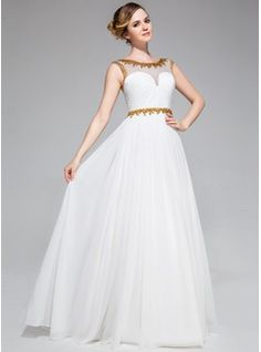 A-Line/Princess Scoop Neck Floor-Length Chiffon Tulle Prom Dress With Ruffle Beading Sequins