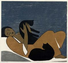Will Barnet  Woman and Cats, 1962