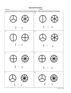 visual guides for Equivalent Fractions